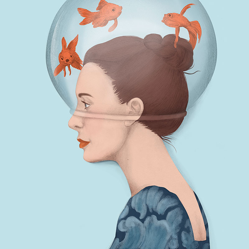 illustration, ilustración, silja götz, silja goetz, silja gotz, hat, woman with fishbowl on her head, conceptual, beauty illustration, fashion illustration