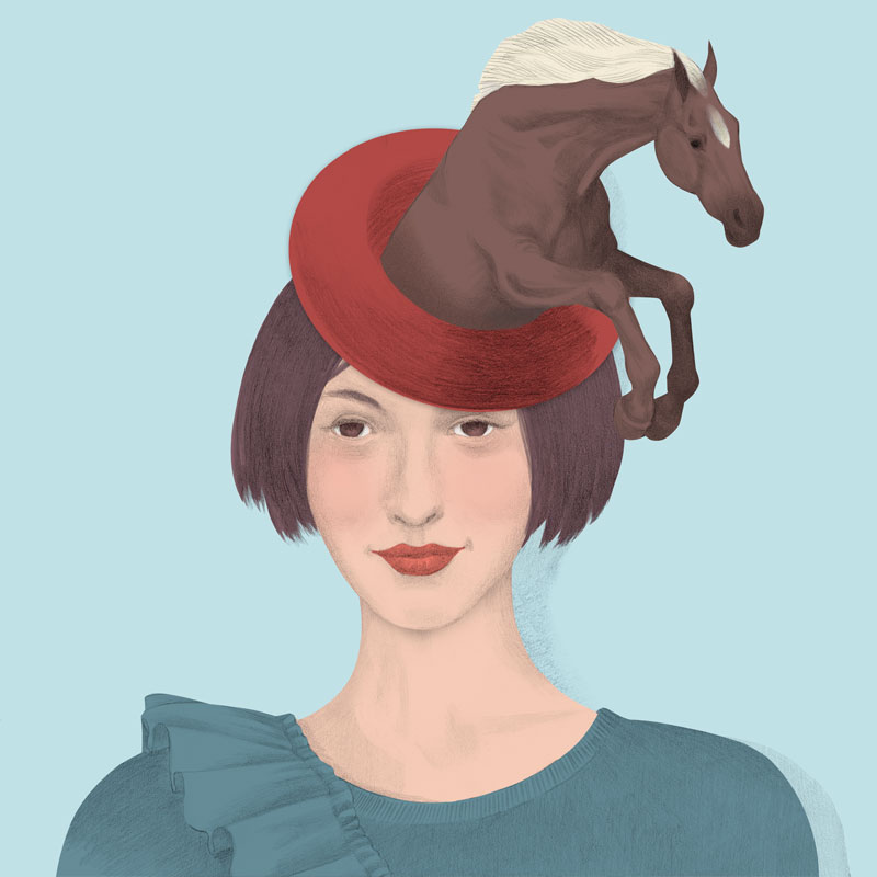illustration, ilustración, silja götz, silja goetz, silja gotz, hat, woman with horse hat, conceptual, beauty illustration, fashion illustration