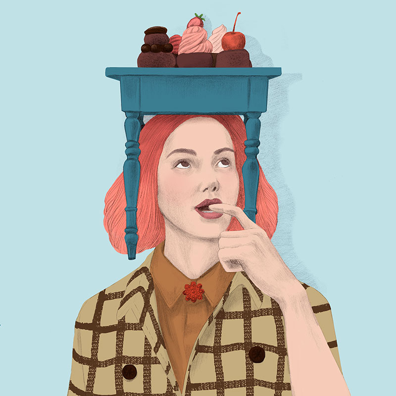 illustration, ilustración, silja götz, silja goetz, silja gotz, food, cake, conceptual, beauty illustration, fashion illustration