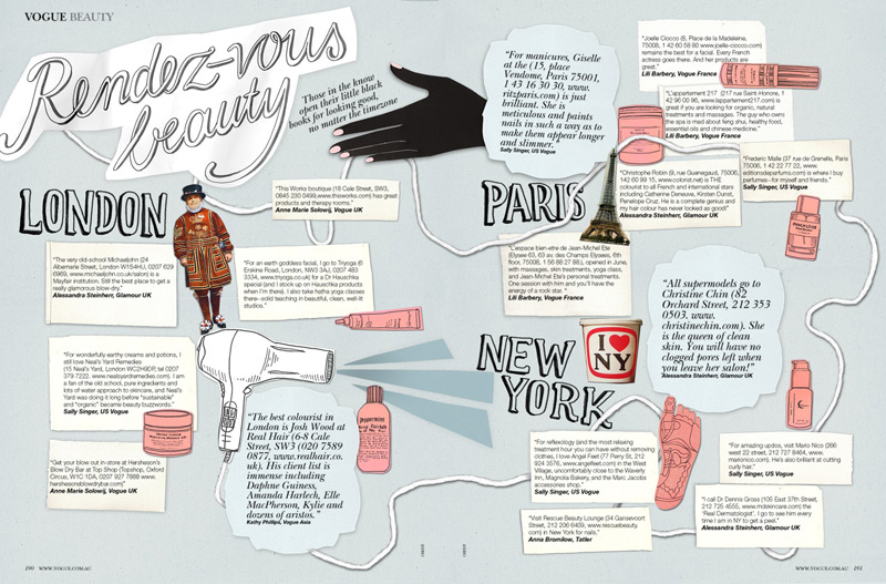 vogue, beauty addresses, map, silja goetz, illustration