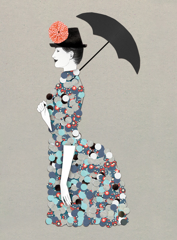 bloomingdale's, seurat, collage, pointillismus, lady with umbrella, frau mit schirm, silja goetz, illustration
