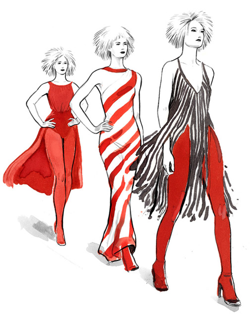 mynewblazer, fashion, summer, woman, models, red, aquarell, water colour, Gareth Pugh, runway, pasarela, catwalk, modelos, illustration, silja götz, silja goetz, silja gotz