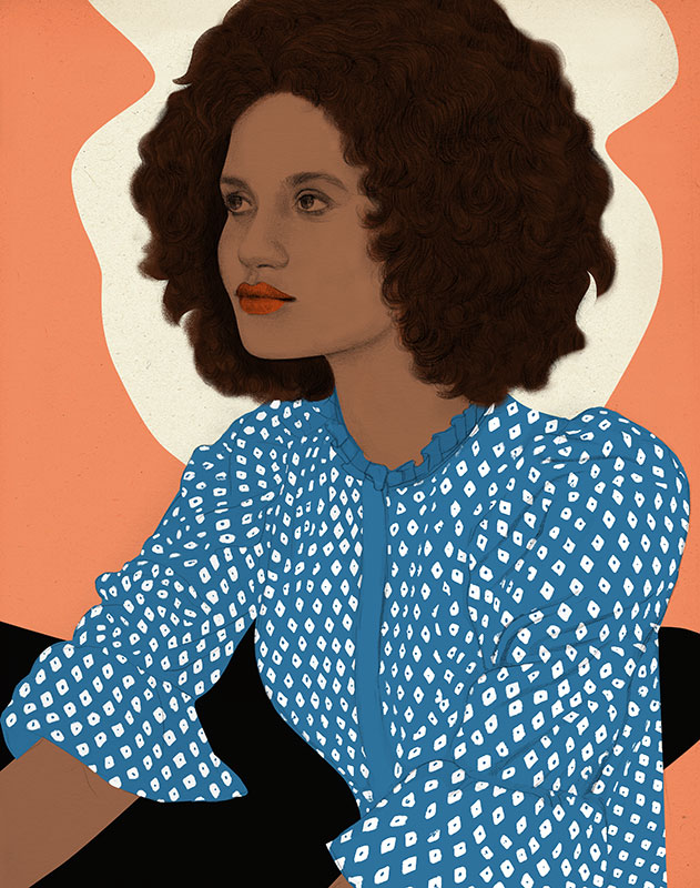 fashion, black woman with blue patterned blouse, pattern, women's magazines, revistas femininas, frauenzeitschriften, beauty, schönheit, belleza, cosmetics, kosmetik, cosmética, illustration, silja goetz, silja götz, ilustración, Frau