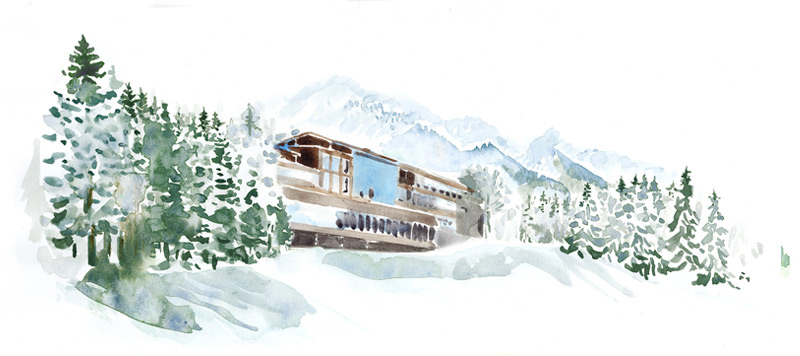 Wall Street Journal, Lanser hof, winter, snow, schnee, alpen, Spa, hotel, Austria, luxury Spa, travel, relax, illustration, water colour, silja götz, silja goetz, silja gotz, aquarell, acuarela, water colour, wall street journal, stoney clove bakery, american bakery, paris, twinkies, cherry pie, cookie, chocolate chip cookie, facade, bäckerei, konditorei, amerikanisch, paris,  Living, style, silja götz, silja goetz, ilustración, dibujo