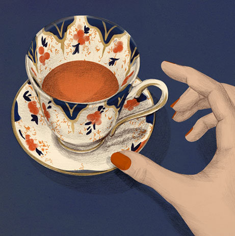 cup of tea, porcellan, staffordshire, teatime, women's magazines, revistas femininas, frauenzeitschriften, vanity fair, Morgen, morning, waking up, aufwachen, despertar, illustration, silja goetz, silja götz, ilustración, Frau,