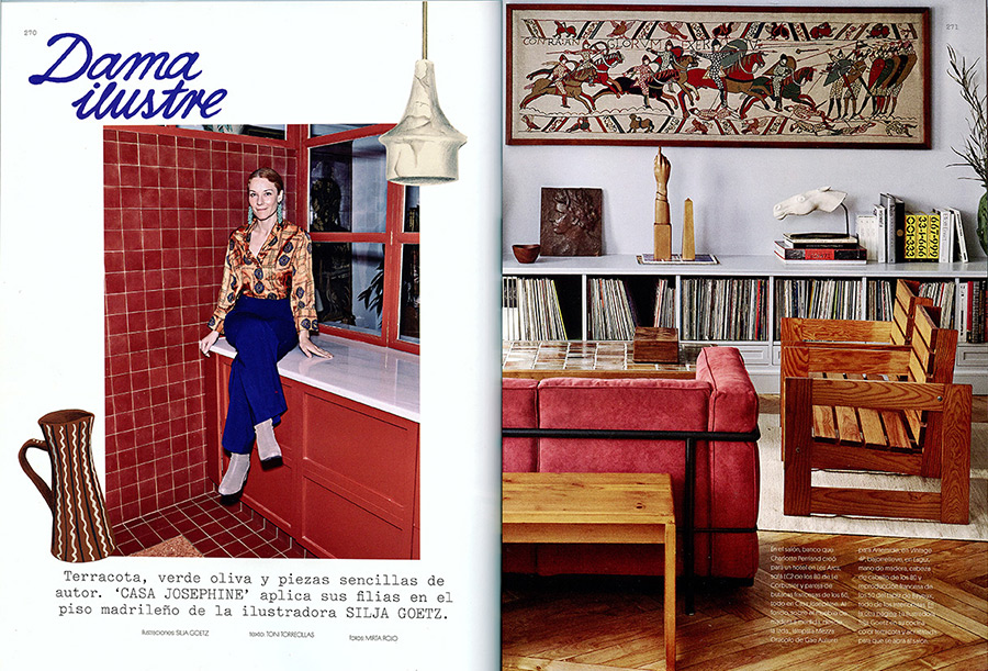 AD, arquitect, designer, interior arquitect, innenarchitekt, arquitectura interior, diseño, icono, icon, AD, arquitectural digest, magazine, magazin, retrato, My favourite things, my home, home story, objects, still life, lamps, thonet chair, cup, Daga hest, braun, mochaware, marble lamp, tiki, illustration, drawing, silja götz, silja goetz, silja gotz